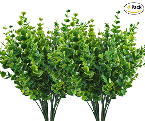 CATTREE Artificial Shrubs Bushes, Plastic Eucalyptus Leaves Fake Green Plants Wedding Indoor Outdoor Home Garden Verandah Kitchen Office Table Centerpieces Arrangements Christmas Decoration 4 - Green Plant Leaves