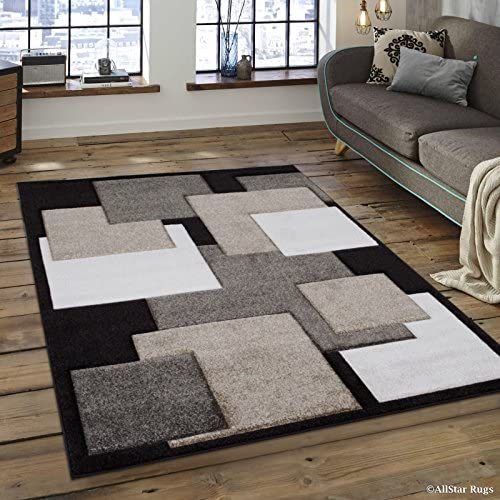 Allstar 4×5 Chocolate Modern and Contemporary Hand Carved Rectangular Accent Rug with Ivory and Mocha Geometric Over Lapping Square Design 3 9 x 5 1