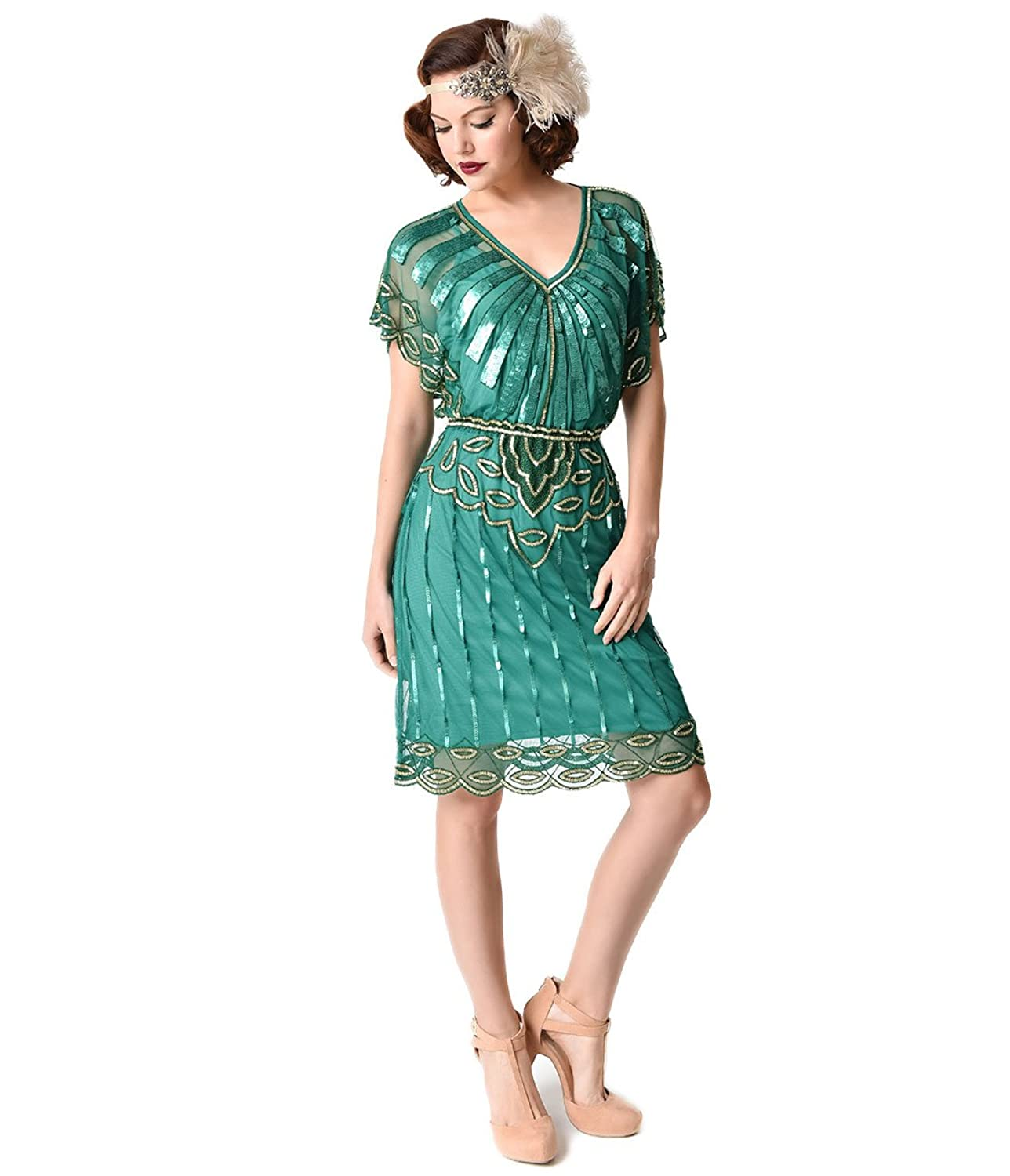 1920s Emerald & Gold Beaded Deco Angel Sleeve Flapper Dress at ...