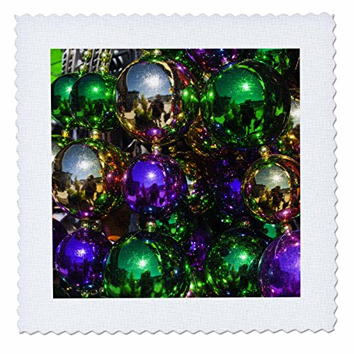 3dRose Louisiana, New Orleans, Market, Mardi Gras Beads - Us19 Wbi0182 - Walter Bibikow - Quilt Square, 6 by 6-Inch (qs_90498_2)