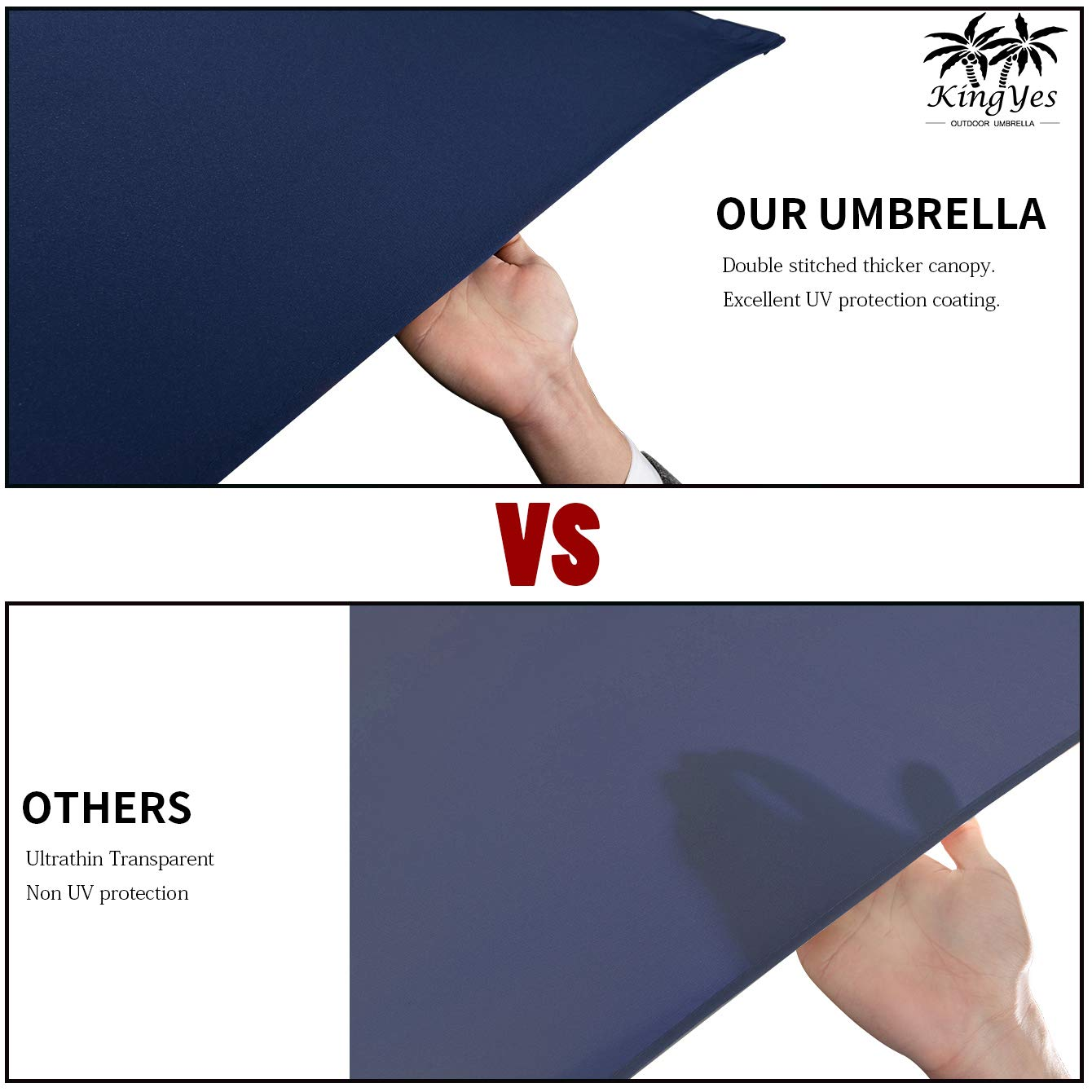 KINGYES 10ft Patio Offset Cantilever Umbrella Market Umbrellas Outdoor Umbrella with Crank & Cross Base for Garden, Deck,Backyard and Pool(Navy Blue) by KINGYES (Image #3)