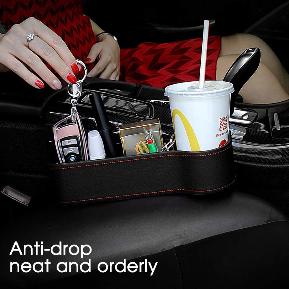 Pormasbenzer Car Seat Gap Organizer Universal Car Seat Side Gap Filler Car Console Side Organizer PU Leather Leak-Proof Storage Box Organizer for Cup Coin Wallet Phone Keys Cards