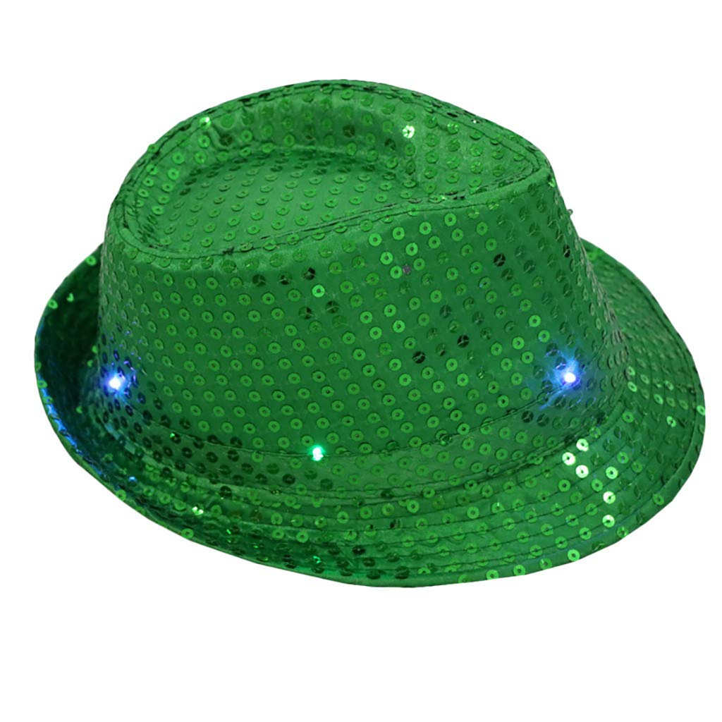 Cuekondy Women Men LED Light Up Sequin Fedora Hat Jazz Caps Fancy Dress Dance Club Party Hat 2019 New (Green, 58cm)