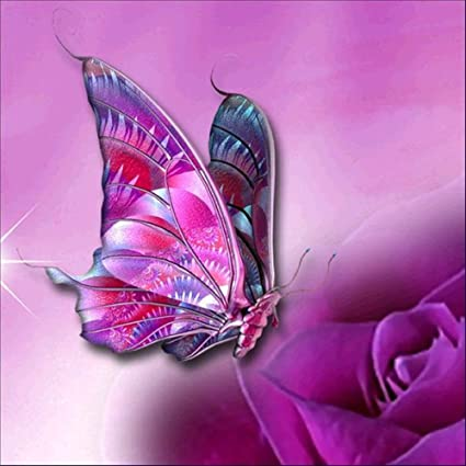 Clearance Sale 5D Diamond Painting Rhinestone Fantasy Butterfly Purple Rose Embroidery Wallpaper DIY Crystal Cross Stitch