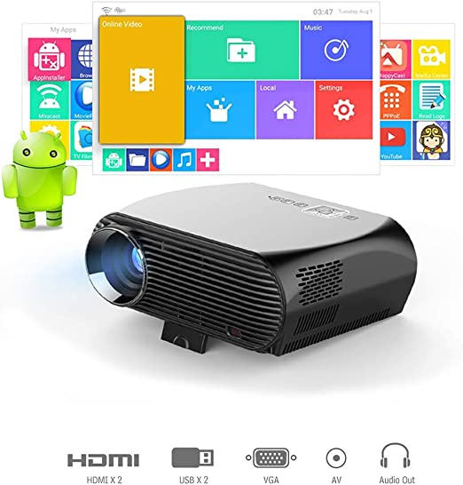 QLPP Proyector, Smart Android WiFi Bluetooth Video Beam 3500ansi ...