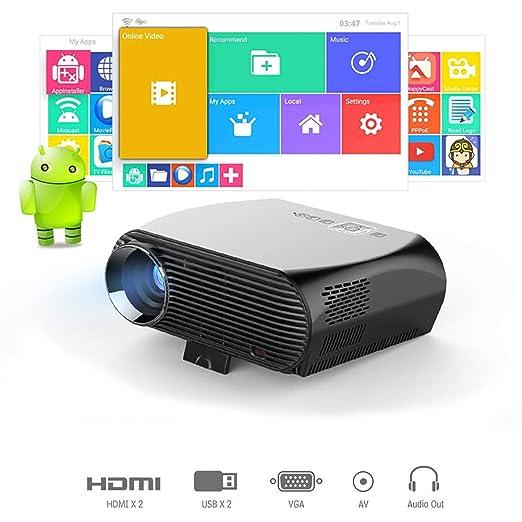 QinLL HD Proyector portátil, Wi-Fi Bluetooth Proyector del Teatro ...