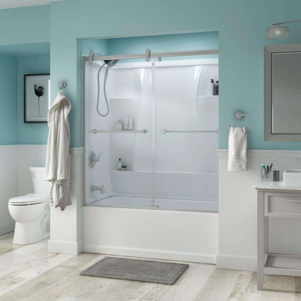 Delta Shower Doors SD3276716 Trinsic 60'' Semi-Frameless Contemporary Sliding Bathtub Door in Nickel with Clear Glass
