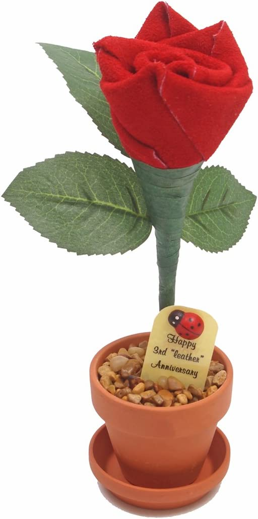 Amazon Com 3rd Year Wedding Anniversary Gift Potted Leather Desk Rose Perfect Present For Wife Or Husband Home Kitchen