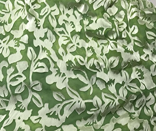 Apple Green Floral - Hand Dyed Burnout Devore Silk Satin Fabric