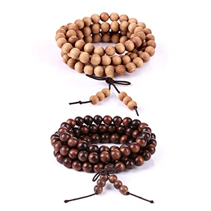 Boomyou Mens Womens Natural Wood Beads Necklace Chain Bracelet Meditation Link Wrist Mala Elastic Prayer Beads