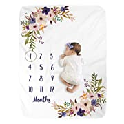 Milestone Blanket/Baby Milestone Blanket Girl Boy/Large Baby Blankets for Girls and Boys Newborn Photography Premium Fleece Baby Monthly Blanket Shower Gifts (Floral, 40 X 50 inches)