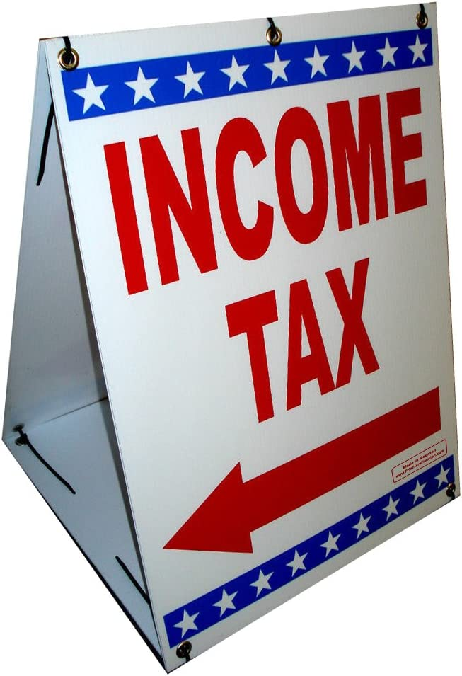 """INCOME TAX w/Directional Arrow Sandwich Board 18"""" x 24"""" Red & Blue on White Sign printed 2-Sides Signage Kit"""