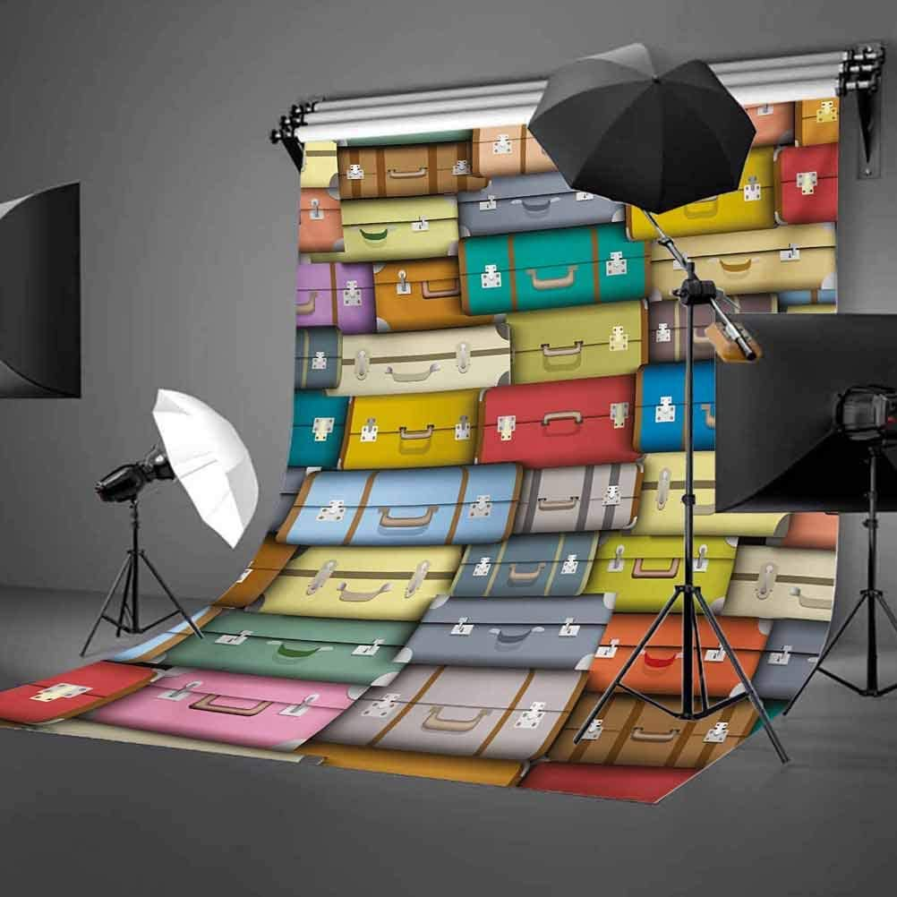 Modern 6.5x10 FT Photography Backdrop Colorful Suitcases Background Vintage Travel Voyage Holiday Themed Artful Design Background for Baby Shower Bridal Wedding Studio Photography Pictures Multicolo