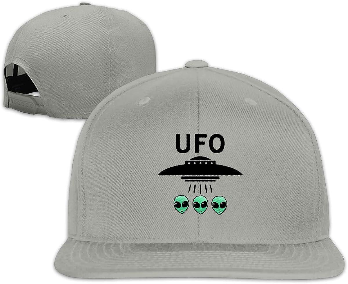 SDQQ6 UFO Alien Peace Logo Classic Flat-Brimmed Trucker Hat Baseball Cap Gray