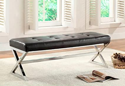 Excellent Legacy Decor Black Bonded Leather X Base Bench Ottoman Beatyapartments Chair Design Images Beatyapartmentscom