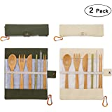 2 Pack Natural Bamboo Travel Cutlery Kit include Knife, Fork, Spoon, Straw and Cleaning Brush for Camping Office Lunch