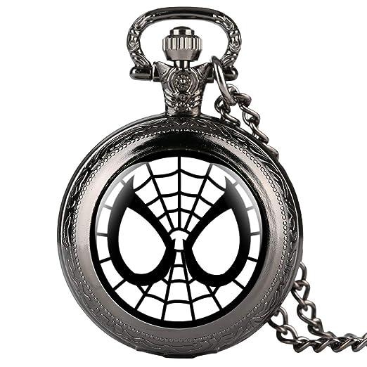 Reloj de Bolsillo Negro para niños, Reloj de Bolsillo con patrón de Spider-Man para Estudiantes, Reloj de Bolsillo Digital árabe para Adolescentes: ...