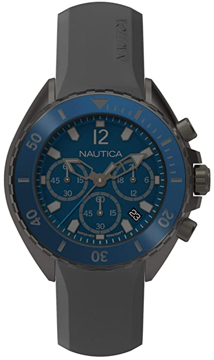 Amazon.com: Nautica Mens Newport Stainless Steel Japanese-Quartz Watch with Silicone Strap, Grey, 22 (Model: NAPNWP003: Watches