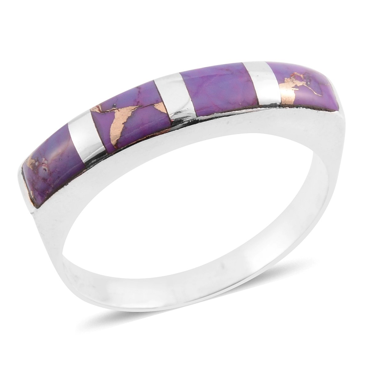 925 Sterling Silver Fancy purple Band Ring Size 10