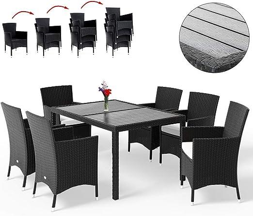 Deuba Conjunto de mesa WPC y 6 sillas apilables negro cojines de 7 cm de grosor set muebles terraza jardin Patio comedor: Amazon.es: Jardín