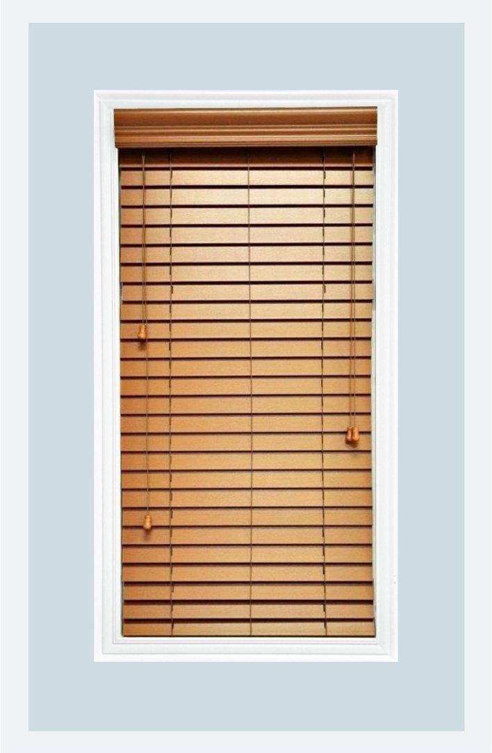 Delta Blinds Supply Custom-Made, Faux Wood Horizontal Window Blinds, 2 Inch Slats, Maple color (Medium Oak,) Inside Mount