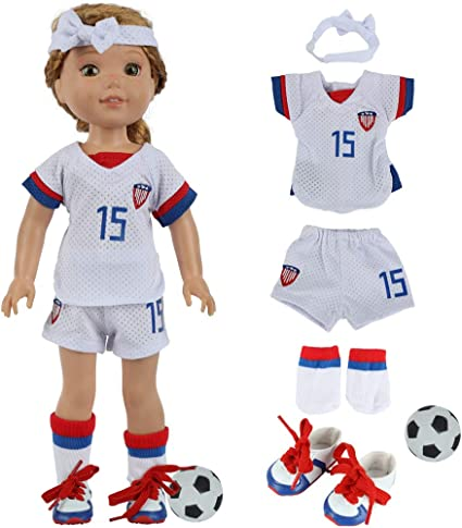 Amazon.com: fundolls 14 Inch Girl Doll Soccer Clothes and Accessories -  Team USA Soccer 6 Piece Uniform Includes Shirt, Shorts, Socks, Headband,  Football and Shoes Fits 14.5 Wellie Wishers Doll (White): Toys & Games