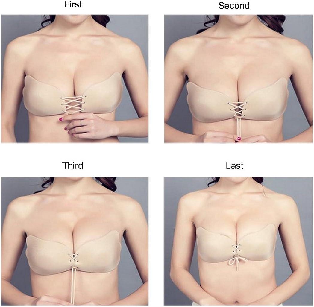 Black /& Beige YANXEN Pack Of 2 Women Backless Self-Adhesive Bra Nude Bra