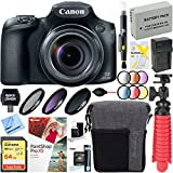 Canon PowerShot SX60 HS 16.1MP 65x Optical Zoom Wide Angle Lens Digital Camera + 64GB Memory and Deluxe Accessory Bundle