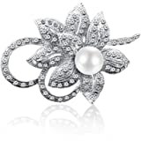 Merdia Brooch for Women Classy Flower Brooch Pin with Shiny Created Crystal and Created Pearl