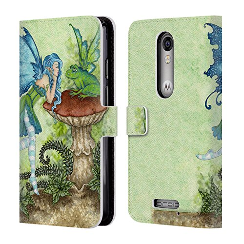 Official Amy Brown Frog Gossip Pixies Leather Book Wallet Case Cover For DROID Turbo 2 / X Force