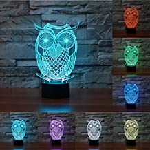 Ancaixin 7 Colors Owl Discoloration Optical Illusion Lamp Nightlight USB Touch Button LED Desk Table Warm Light
