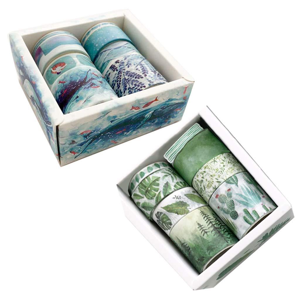 8 pezzi B nastro adesivo Washi con foglie verdi e cactus per fai da te e scrapbooking Shaoyanger
