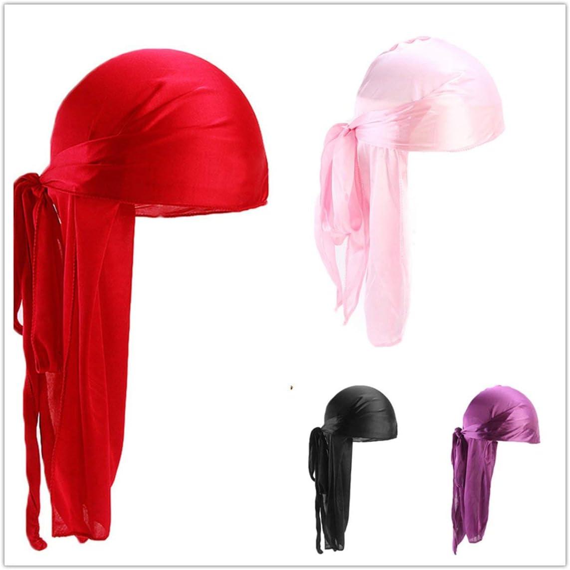 Colore: Nero Garciayia Uomo Donna Raso di Seta Traspirante Silky Durag 360 Wave Cool Bandana Hat Turban