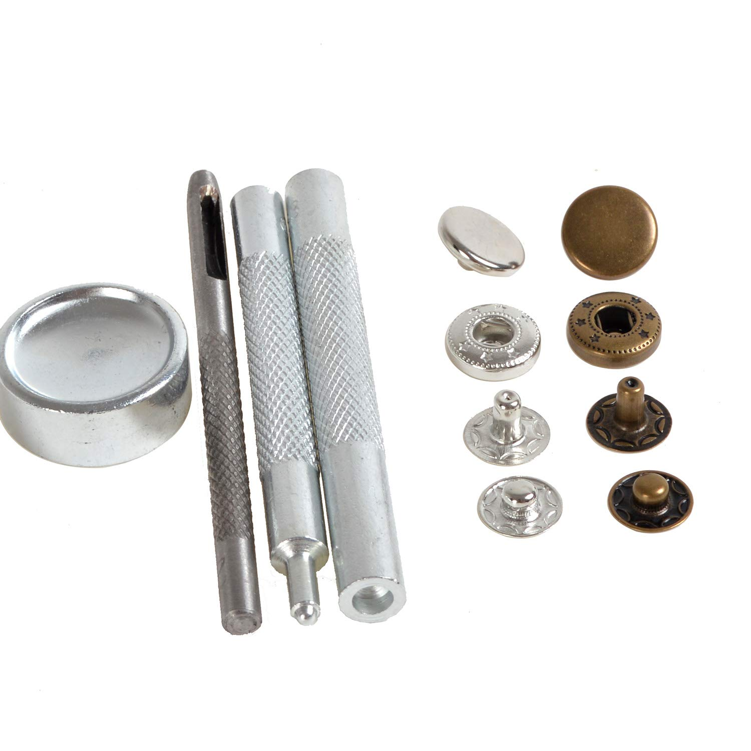 30 Completed Sets 12.5mm Silver & Antique Brass Snap Fasteners Poppers Sewing Clothing Jacket Jean Bag Shoes Buttons Studs Kit with Fixing Tool ifsecond