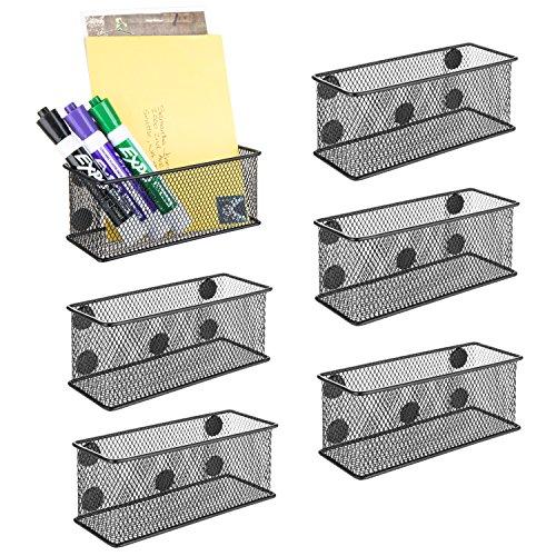 MyGift Wire Mesh Magnetic Storage Baskets, Office Supply Organizer, Set of 6, Black