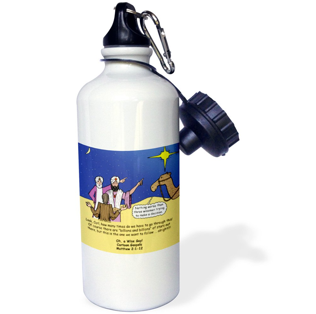 White 21 oz 3dRose Matthew 02 01-12 The Wise Men Try to Follow the Stars with Carl Sagan Sports Water Bottle