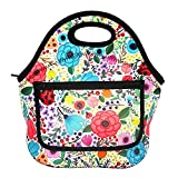 MangGou Floral Pattern Lunch Bgas with Side Pocket Zipper Closure Waterproof Neoprene Reusable Insulated Lunch Boxes for Women Teen Girls Lunch Bag Box Tote for School Work Office Picnic Travel