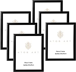 ATOBART 8x10 Picture Frame Set, Aluminum Black Photo Frame with Real Glass for Wall Mount or Table Top Display, Set of 6