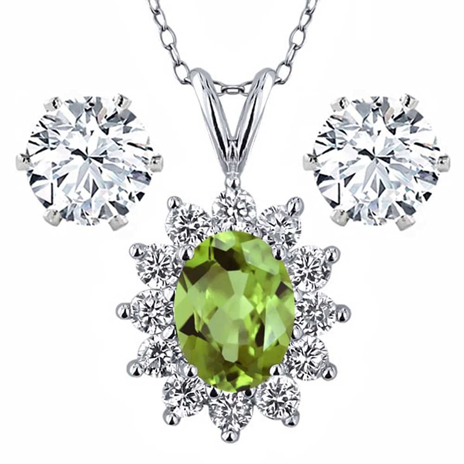 1.93 Ct Oval Green Peridot 925 Sterling Silver Pendant with Gift