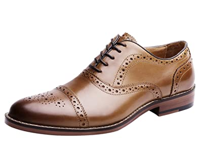 2fcba3edc94 Dress Shoes for Men Brogue Wingtip Oxford Genuine Leather Lace up Fashion  Work Black Tan 5.5