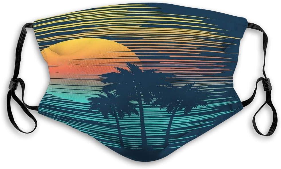 Na Wiederverwendbare Gesichtsmaske Mundmasken sch/öne tropische Sonnenuntergang Strand Palme Sonne /äu/ßere Masken