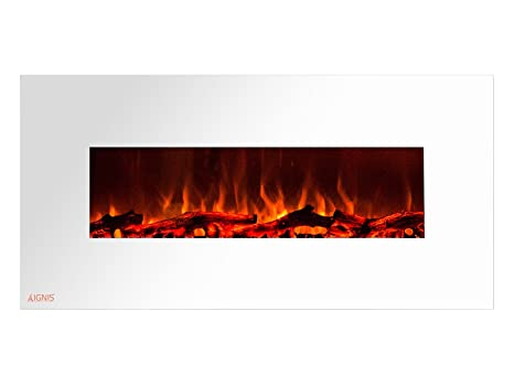 Amazon Com Ignis Royal White 50 Inch Wall Mount Electric Fireplace