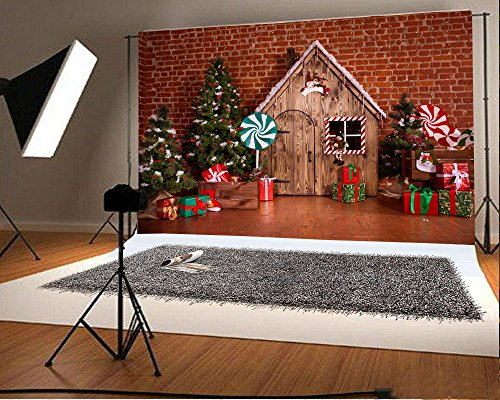 Laeacco 7x5FT Vinyl Backdrop Photography Background Christmas Decoration Holiday Party Children Baby Xmas Tree Green Lollipop Candy Presents Boxes Wood House Hand Made Interior Brick Wall Scene (Folded Handmade)