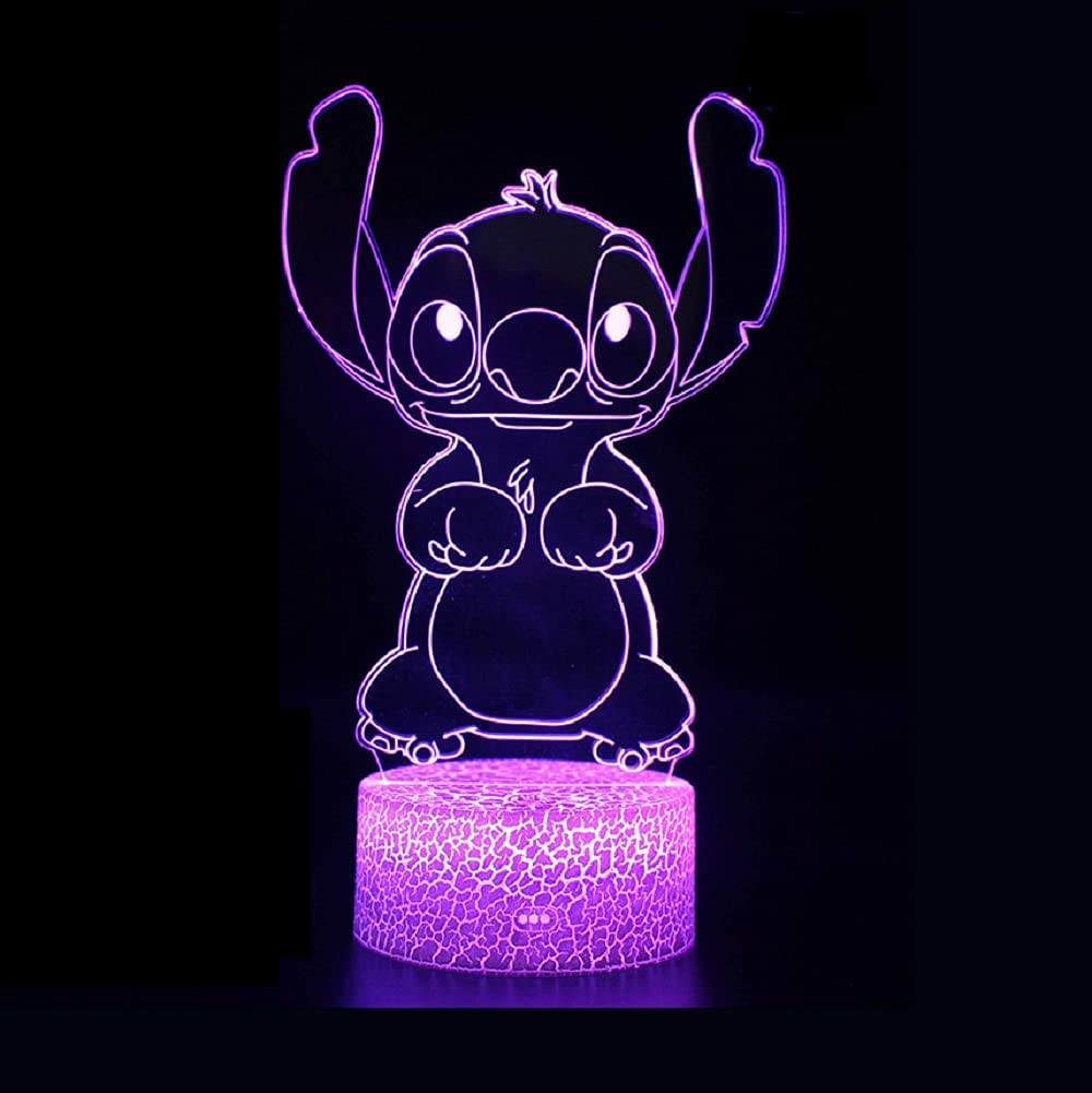 Amroe Cute Cartoon Stitch and Lilo 3D LED Optical Illusion Acrylic Night Light with Remote 7 Colors Change Dimmable Family Personalized Hot Decor Table Lamp Birthday Christmas Gift for Child Kids