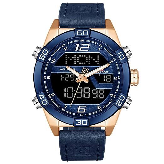 Watch Hombre Analog de Digital Digital Cuarzo Reloj con Pulsera de Piel 9128: Amazon.es: Relojes