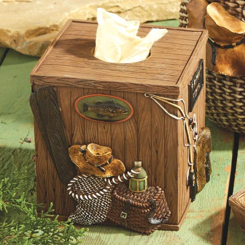Black Forest Decor Rather Be Fishing Lodge Tissue Box (Tissue Fishing Box)