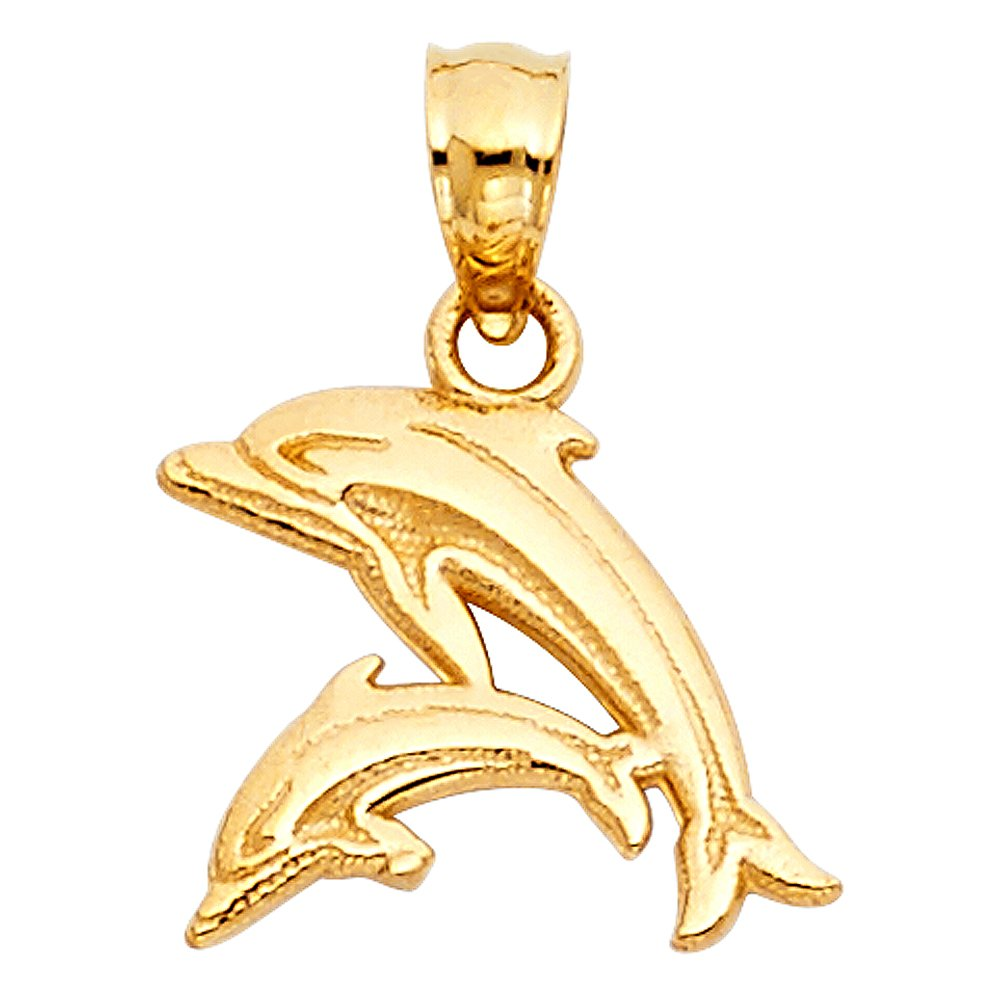 14K Yellow Gold Dolphin Charm Pendant with 1.7mm Flat Open Wheat Chain Necklace