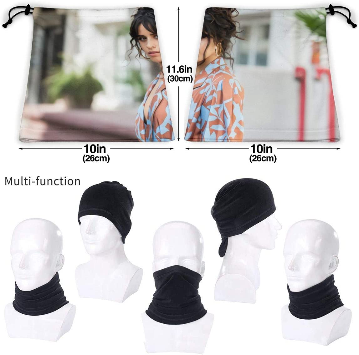 Camila Cabello Highly Elastic Warm Microfiber Neck Thermal Mask Scarf Unisex Windproof Face Mask