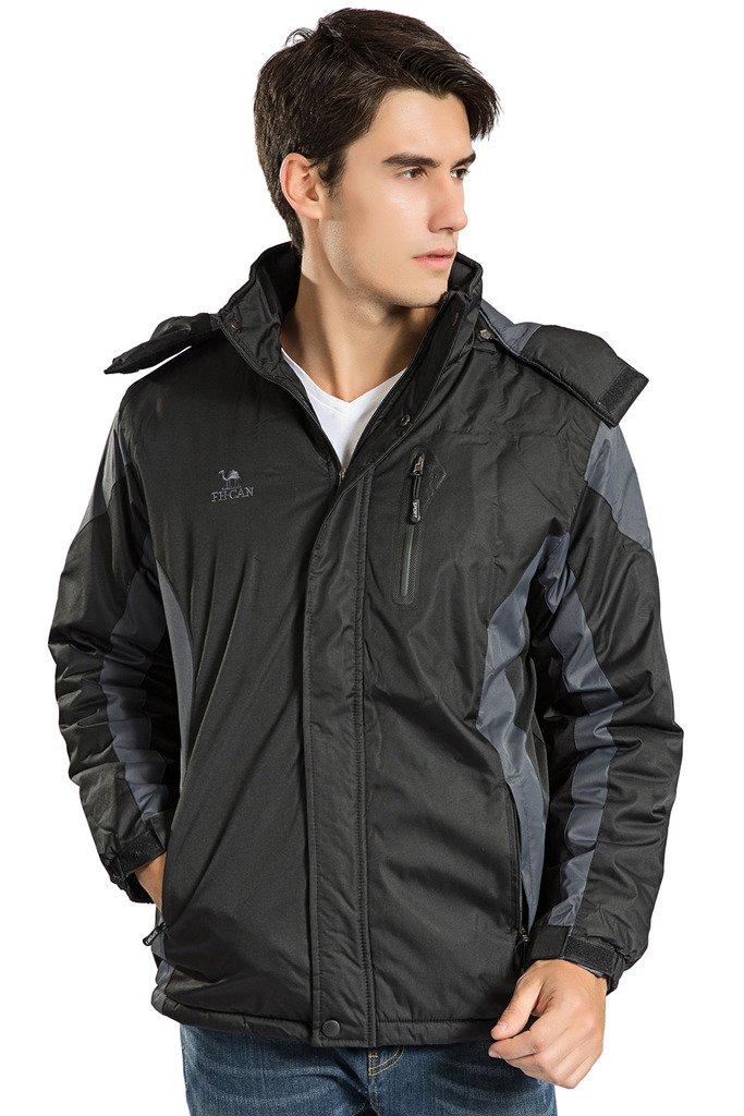 Men's Winter Warm Fleece Lined Ski Coats Outdoor Hooded Waterproof Parka Jacket Black US X-Large / Asian 5XL by HENGJIA (Image #4)