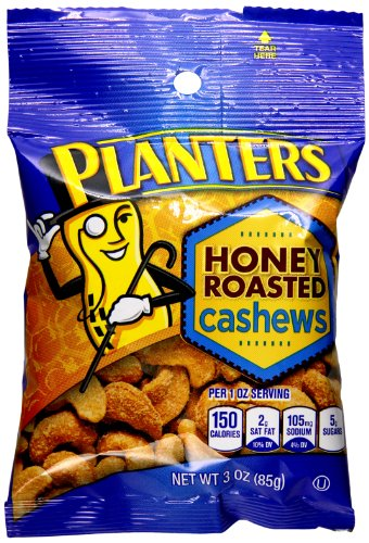 Planters Honey Roasted & Salted Cashews (3 oz Bag, Pack of 6)